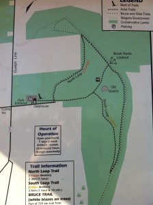 We hiked the 2.3 km North Loop Trail (Orange)