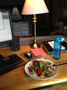 Enjoying my turkey salad while I work!  Busy, busy!!